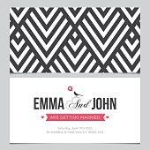 Wedding card back and front with pattern background 01