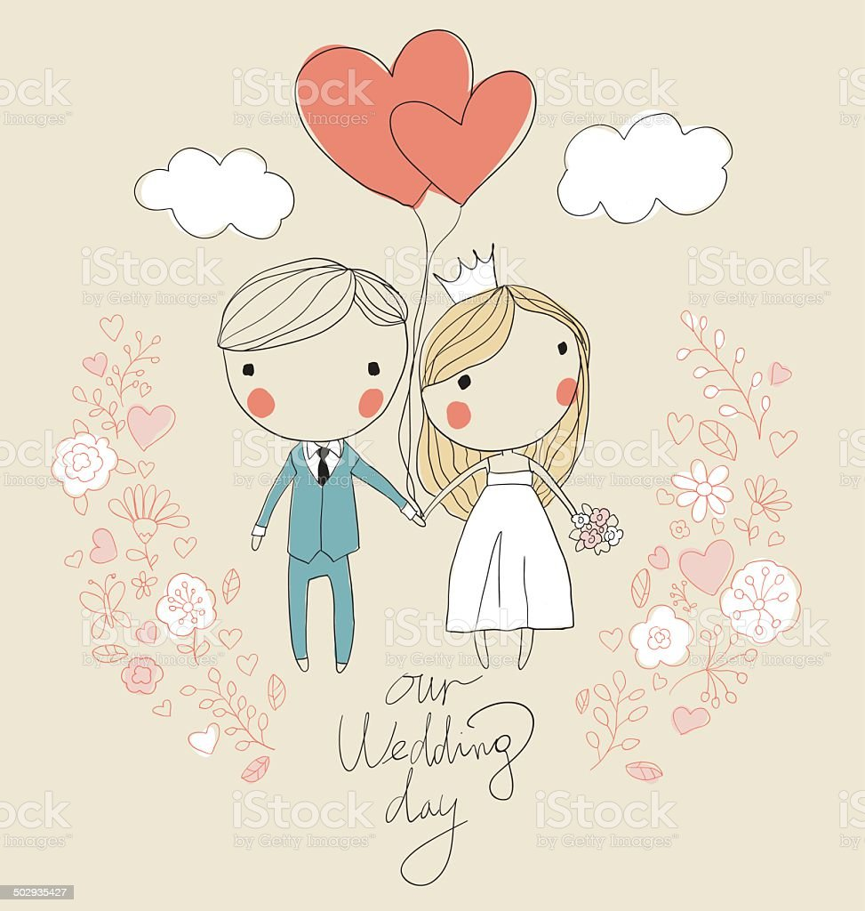 Wedding card. Bride and groom vector art illustration