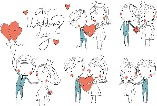 Wedding card. Bride and groom Wedding card. Bride and groom  bridegroom stock illustrations