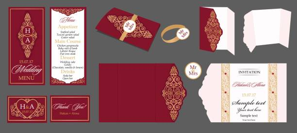 Wedding card collection - menu, invitation, table cards. Templates with gold patterned and crystals. cartable stock illustrations