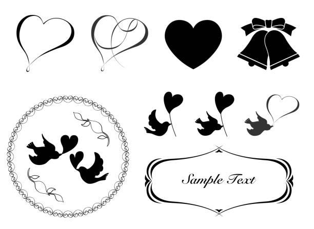 wedding card decorative material set - wedding stock illustrations, clip art, cartoons, & icons