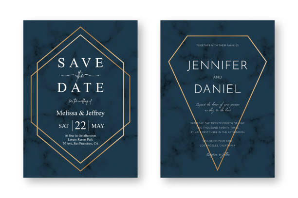 Wedding card design with golden frames and marble texture. Save the date. Wedding invitation and announcement design template vector art illustration