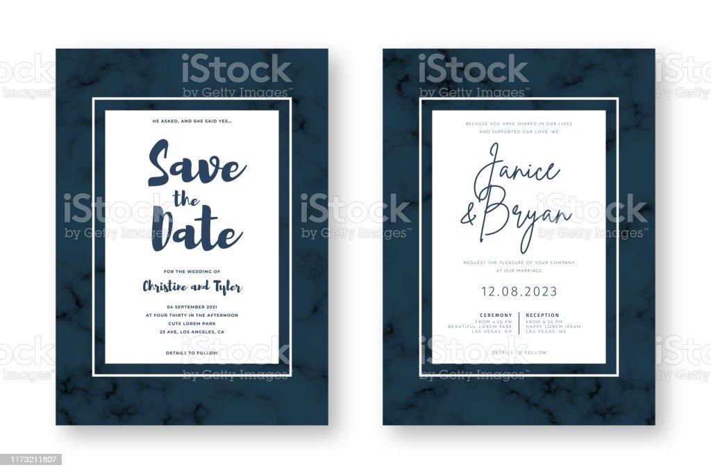 Hochzeitskarte Design mit goldenen Rahmen und Marmor Textur. Speichern Sie das Datum. Hochzeitseinladung und Ankündigung Design Vorlage - Lizenzfrei Abstrakt Vektorgrafik