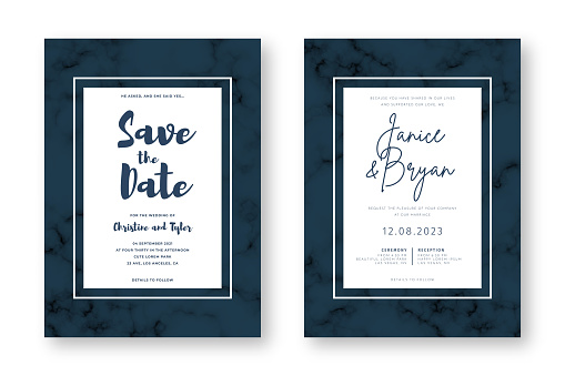 Wedding card design with golden frames and marble texture. Save the date. Wedding invitation and announcement design template