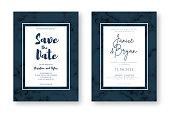Wedding card design with golden frames and marble texture. Save the date. Wedding invitation and announcement design template with geometric patterns and luxury background. Vector