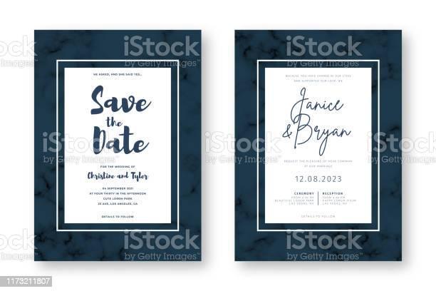 Hochzeitskarte Design Mit Goldenen Rahmen Und Marmor Textur Speichern Sie Das Datum Hochzeitseinladung Und Ankündigung Design Vorlage Stock Vektor Art und mehr Bilder von Abstrakt