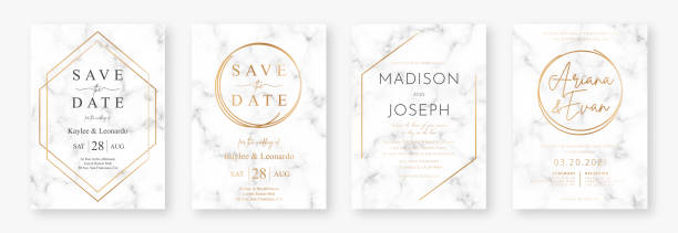Wedding card design with golden frames and marble texture. Set of wedding announcement or invitation design template with geometric patterns and luxury background vector art illustration