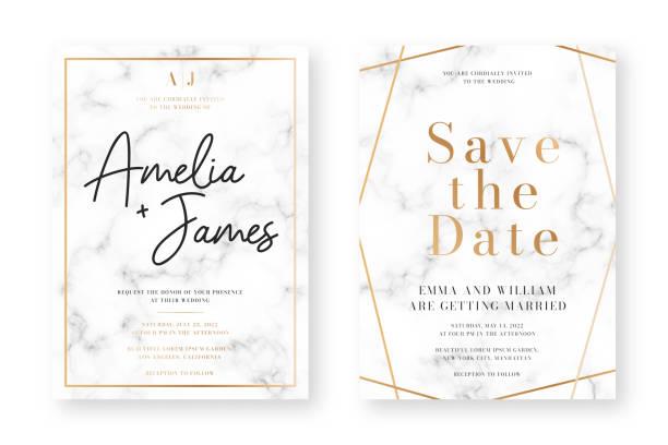 ilustraciones, imágenes clip art, dibujos animados e iconos de stock de diseño de tarjeta de boda con marcos dorados y textura de mármol. anuncio de boda o plantilla de diseño de invitación con patrones geométricos y fondo de lujo - diseños de bodas