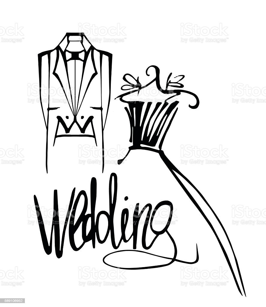 Wedding card hand drawn векторная иллюстрация