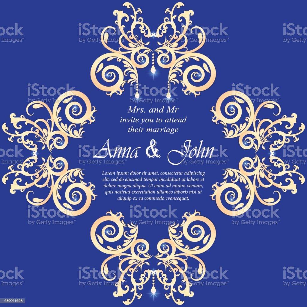 Wedding Card Invitation Card With Ornamental On Blue Background