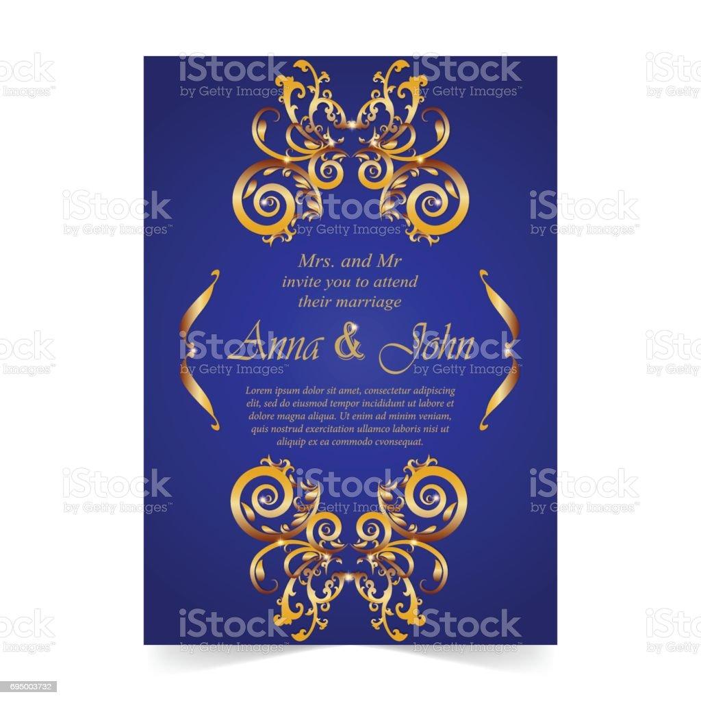 Wedding card invitation card with ornamental on royal blue wedding card invitation card with ornamental on royal blue background royalty free wedding card stopboris Choice Image