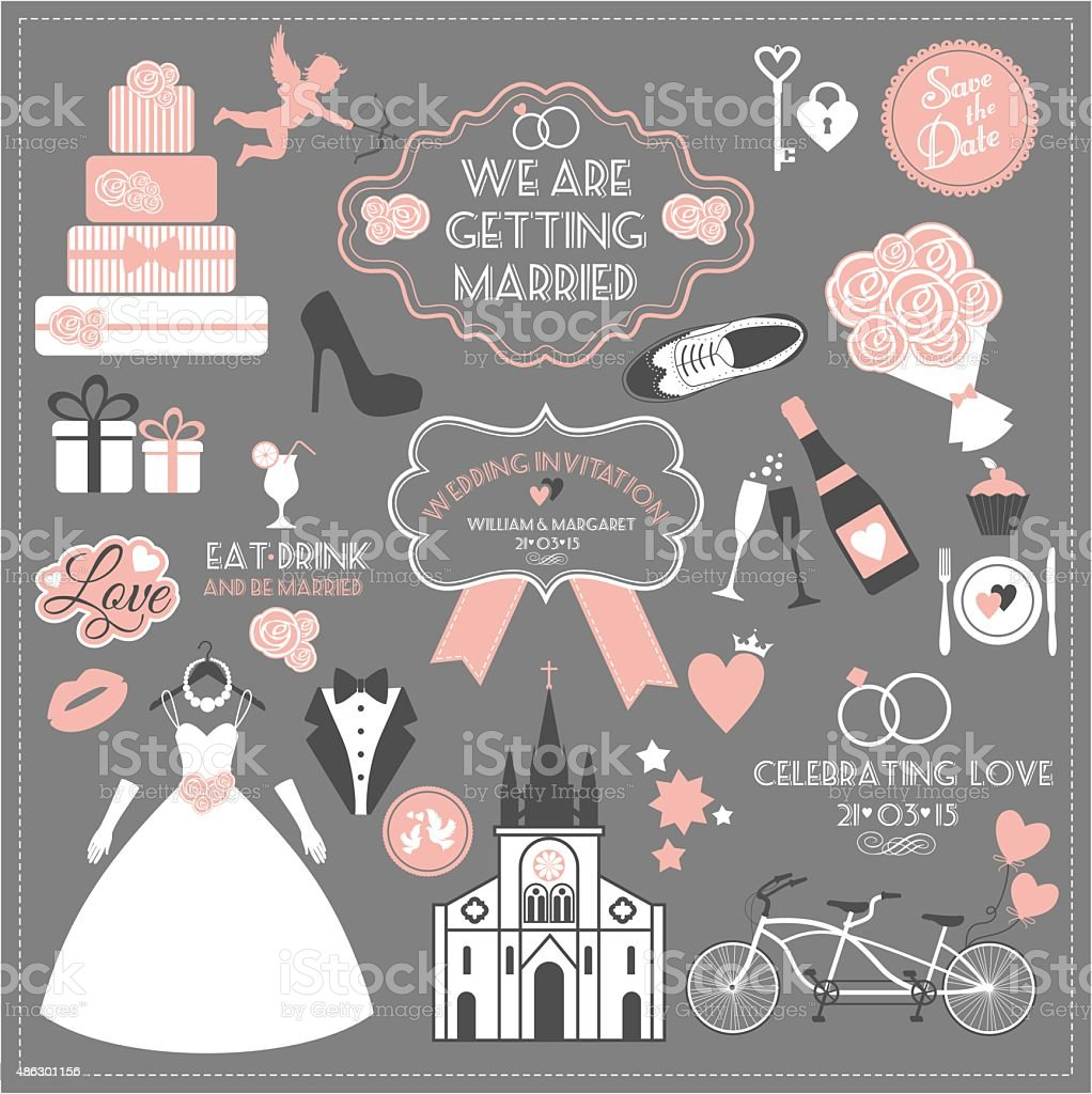 Wedding card invitation of celebration symbols vector art illustration