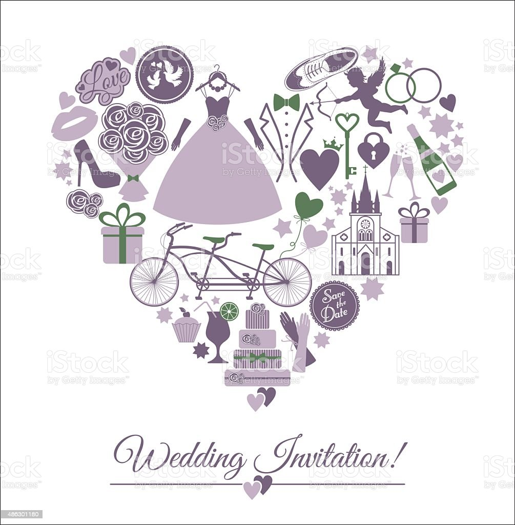 Wedding Card Invitation Of Celebration Symbols Royalty Free Stock Vector Art