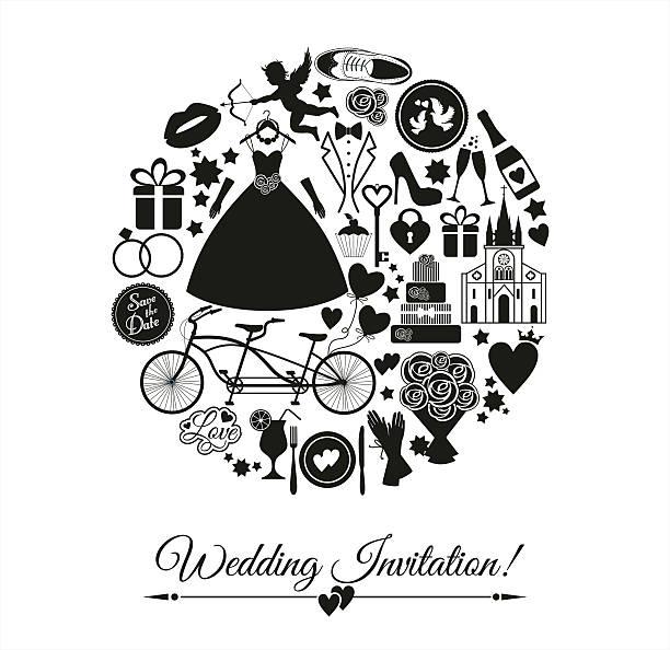 Wedding Card Invitation Of Celebration Symbols Stock Vector Art