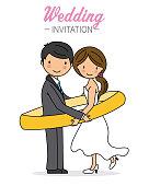 wedding card.  Newlyweds inside wedding ring