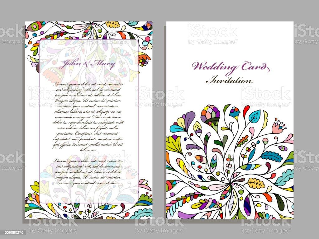 wedding card template floral design アラビア風のベクターアート素材