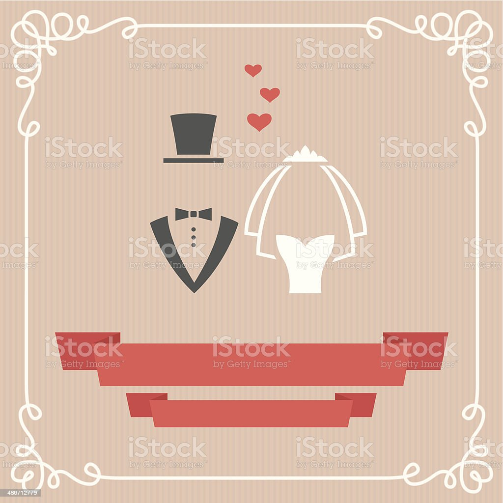 Wedding card vector art illustration