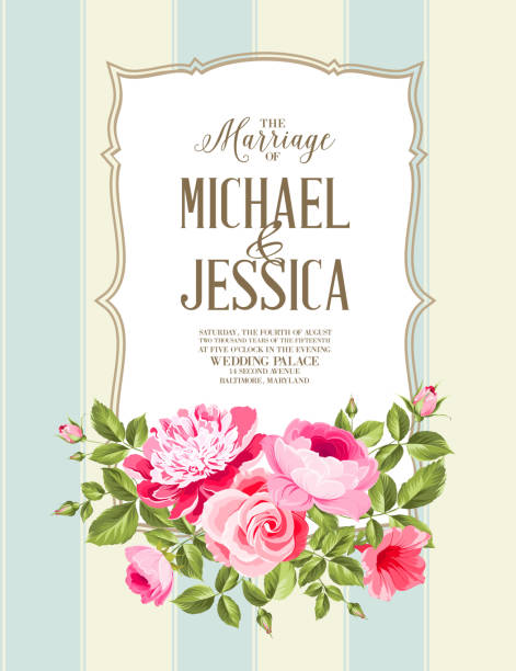 Wedding Card Wedding Card and engagement announcement. Wedding of Michael and Jessica. Vector illustration. shabby chic stock illustrations