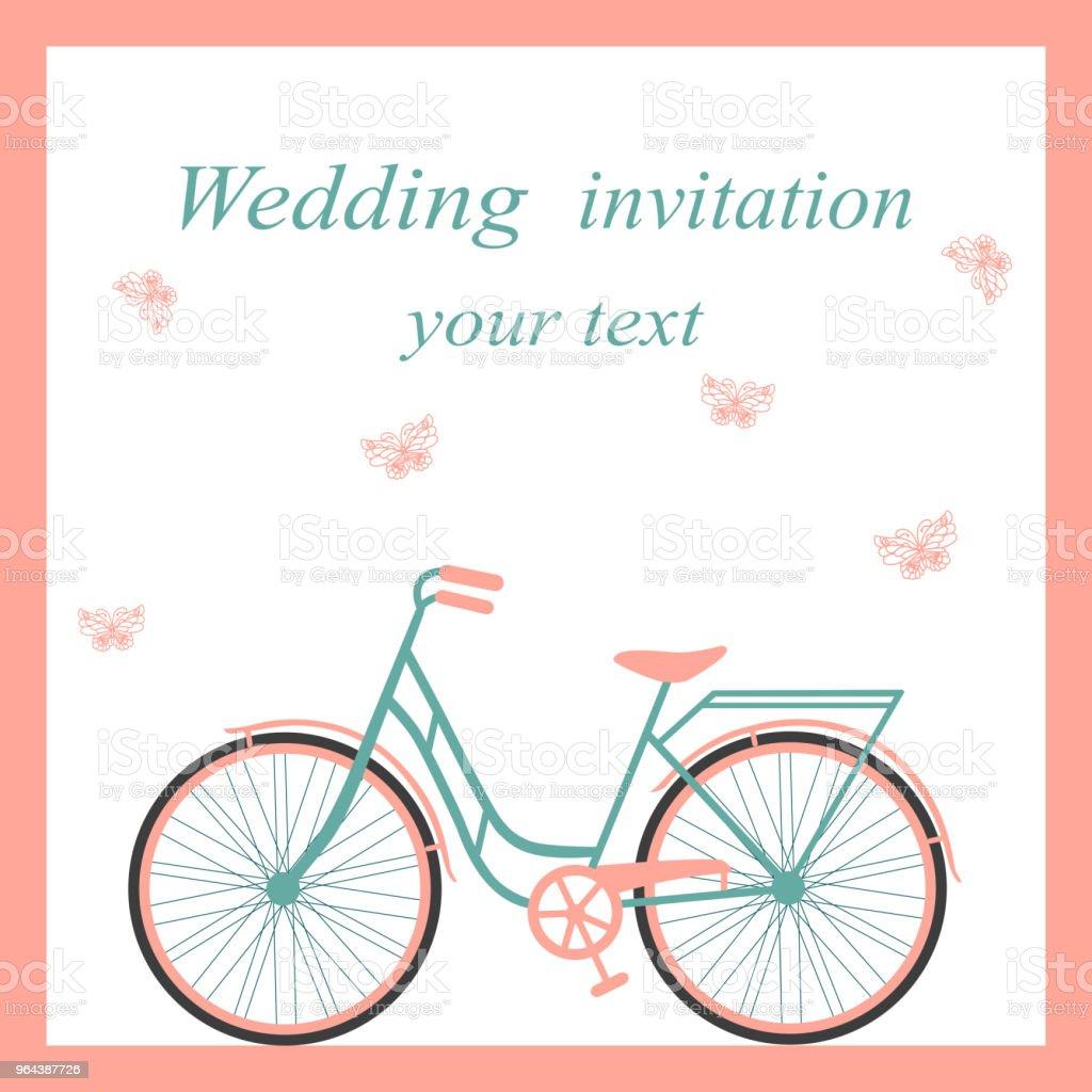 Hochzeitskarte Mit Fahrrad Und Schmetterlingen Stock Vektor Art Und