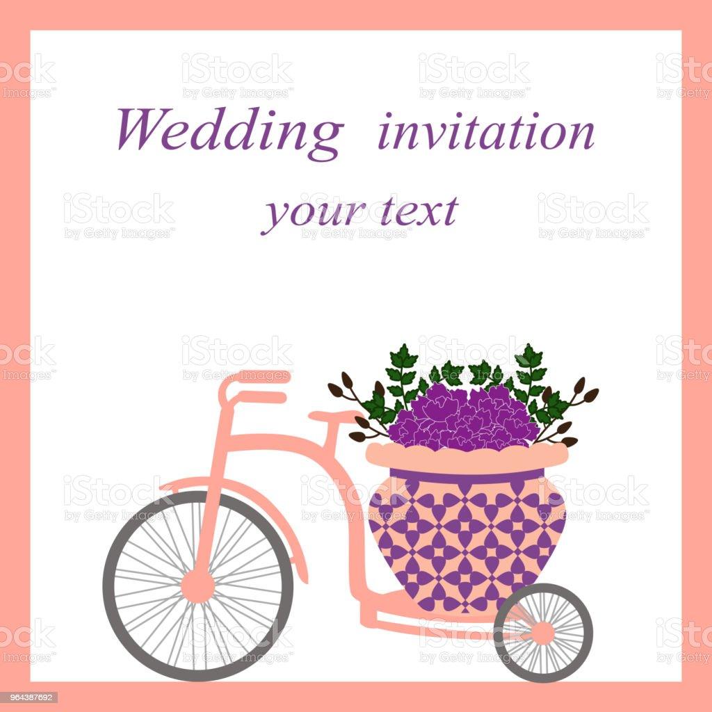 Bruiloft kaart met fiets en bloemen. - Royalty-free Aanhankelijk vectorkunst