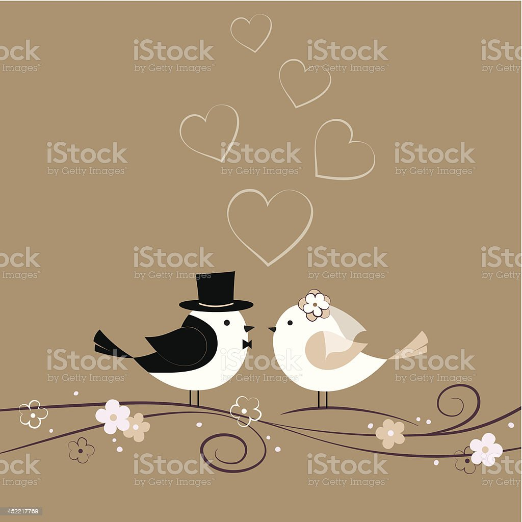 Wedding card with birds vector art illustration