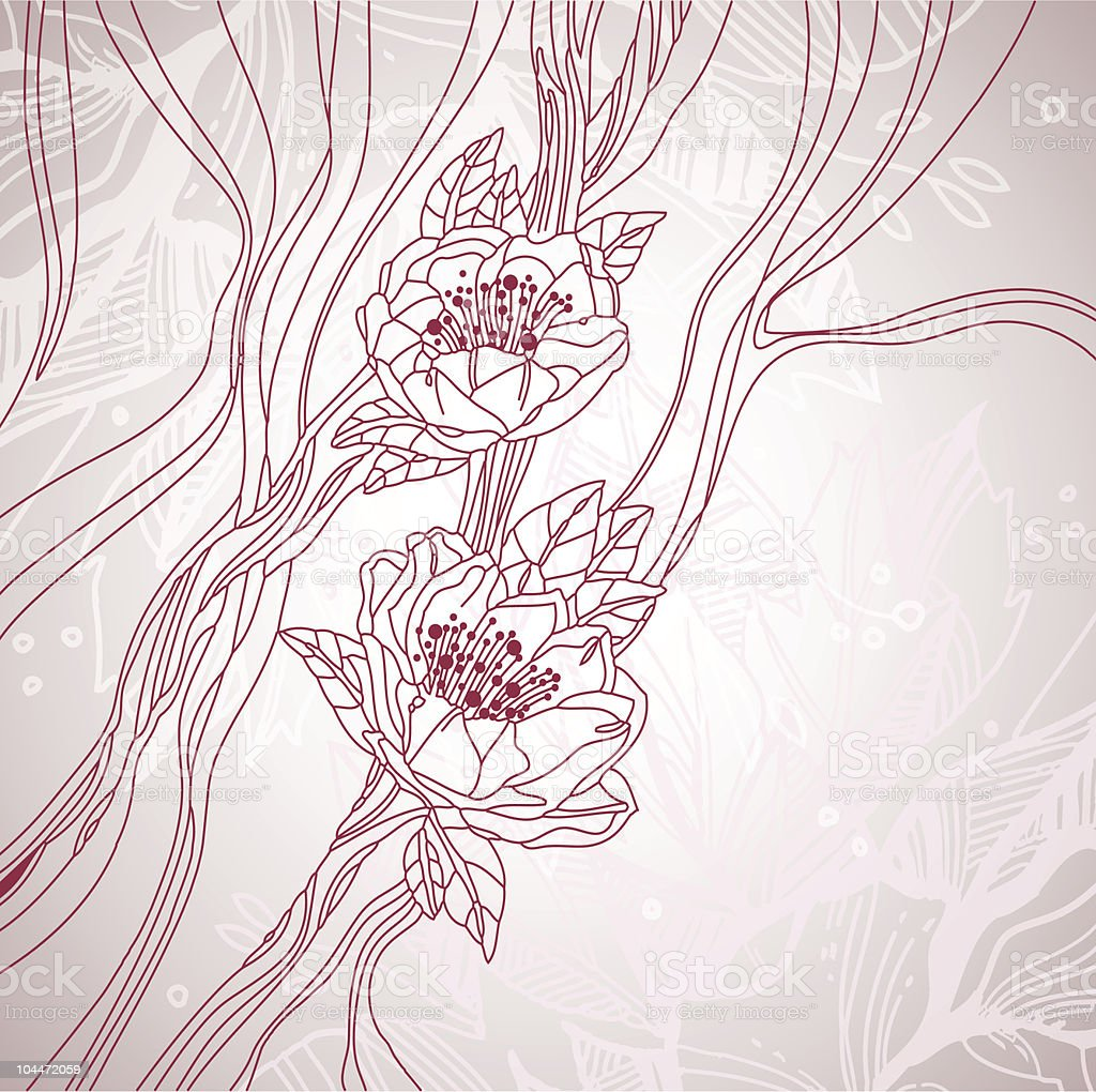 Wedding card with blossoms line art royalty-free stock vector art