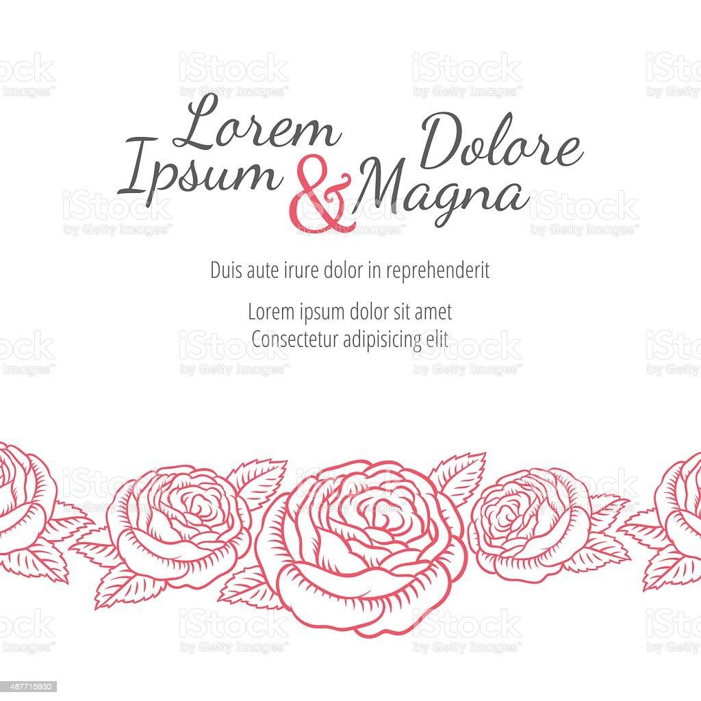 Hochzeit-Karte mit Rosen in der Ausarbeitung eines klassischen retro-Look – Vektorgrafik