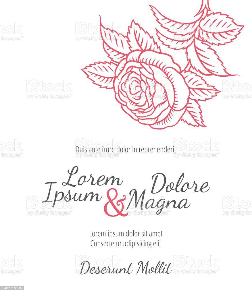 Dessin carte de mariage avec des roses dans un style rétro classique - Illustration vectorielle