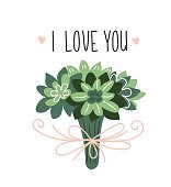 Wedding card with green bouquet of succulents. Hand drawn cute vector illustration. Card for valentine's day.