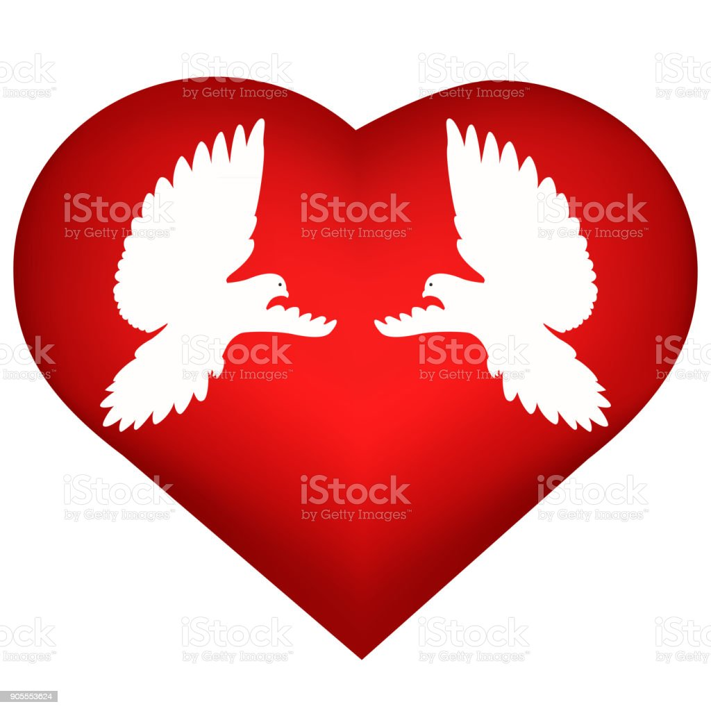Wedding Card With Heart And Doves Stock Vector Art & More Images of ...