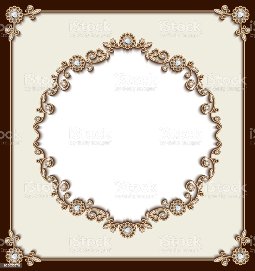 Wedding Card With Jewelry Gold Borders Royalty Free Stock
