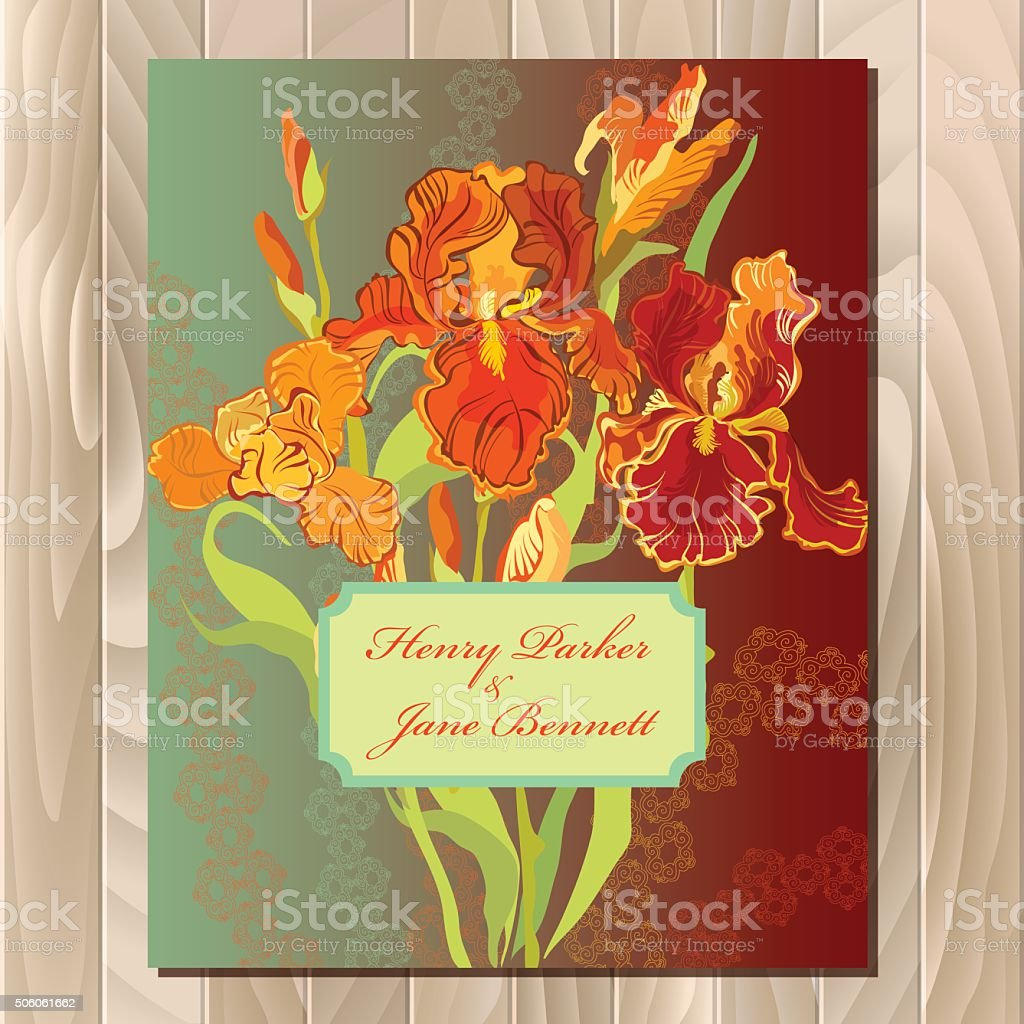 Wedding Card With Red Iris Flower Wreath Background Vector