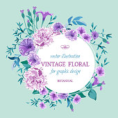 Vector vintage floral background. Wedding card with round frame floral bunch. Flowers Botanical drawing in watercolor style. Petunia, peony pink purple, lilac and twigs with leaves, greenery.