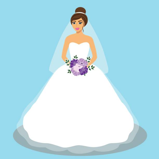 33 White And Purple Wedding Dress Illustrations Royalty Free Vector Graphics Clip Art Istock