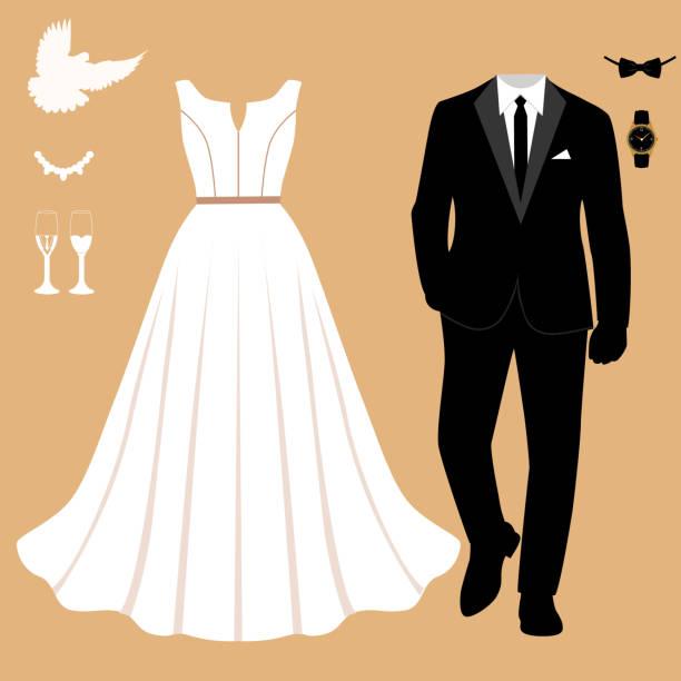hochzeitskarte mit der kleidung der braut und des bräutigams. kleidung. - hochzeitsanstecker stock-grafiken, -clipart, -cartoons und -symbole
