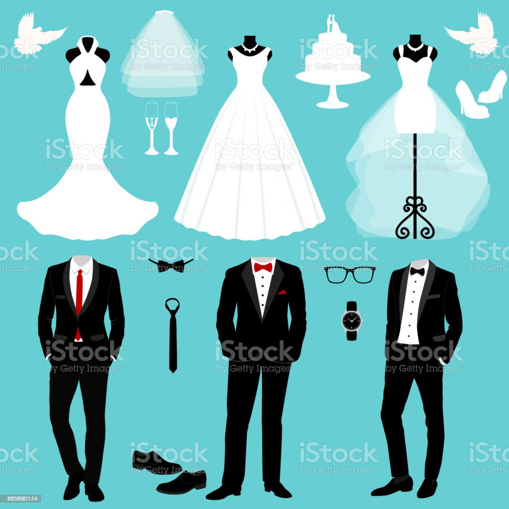 Wedding card with the clothes of the bride and groom. vector art illustration