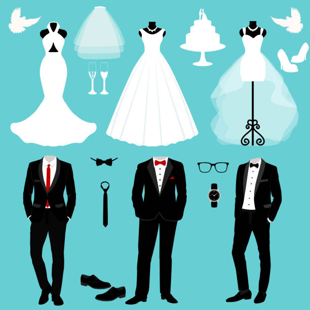 Wedding card with the clothes of the bride and groom. Wedding card with the clothes of the bride and groom. Wedding set. A set of wedding clothes. Beautiful wedding dress and tuxedo. Vector illustration. tuxedo stock illustrations