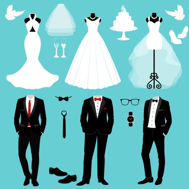 ilustrações de stock, clip art, desenhos animados e ícones de wedding card with the clothes of the bride and groom. - smoking