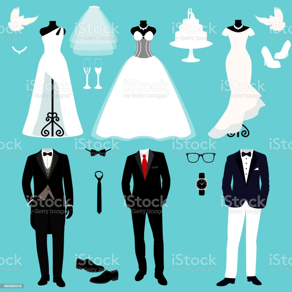 Wedding Card With The Clothes Of The Bride And Groom Stock Vector ...