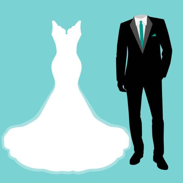 Wedding card with the clothes of the bride and groom. Wedding card with the clothes of the bride and groom. Beautiful wedding dress and tuxedo. Vector illustration. wedding dress stock illustrations
