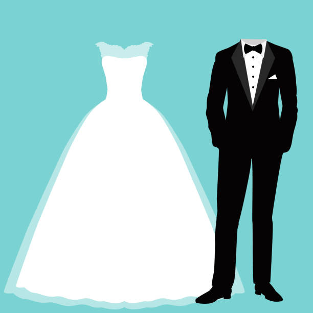 Wedding card with the clothes of the bride and groom. Wedding card with the clothes of the bride and groom. Beautiful wedding dress and tuxedo. Vector illustration. bridegroom stock illustrations