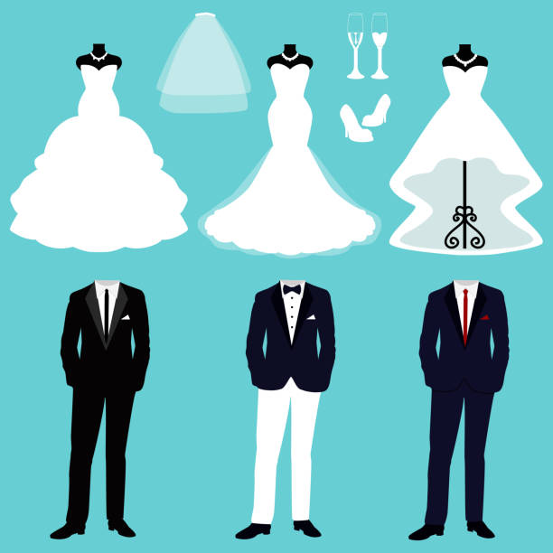 Wedding card with the clothes of the bride and groom. Wedding card with the clothes of the bride and groom. A set of wedding clothes. Beautiful wedding dress and tuxedo. Vector illustration. wedding dress stock illustrations