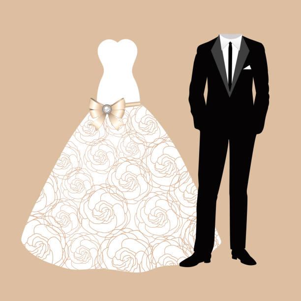 hochzeitskarte mit der kleidung der braut und des bräutigams. - rosenhochzeitskleider stock-grafiken, -clipart, -cartoons und -symbole