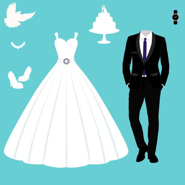 hochzeitskarte mit der kleidung der braut und des bräutigams. - hochzeitsanstecker stock-grafiken, -clipart, -cartoons und -symbole