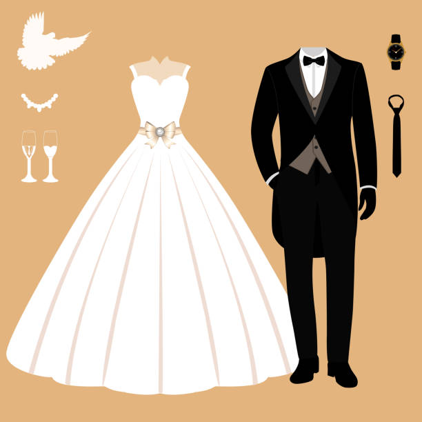 Wedding card with the clothes of the bride and groom. Wedding card with the clothes of the bride and groom. Clothing. Wedding set. Beautiful wedding dress and tuxedo. Vector illustration. wedding dress stock illustrations
