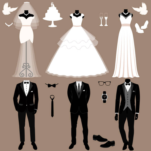 Wedding card with the clothes of the bride and groom. Wedding set. Wedding card with the clothes of the bride and groom. Wedding set. A set of wedding clothes. Beautiful wedding dress and tuxedo. Vector illustration. bridegroom stock illustrations