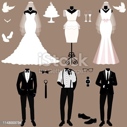 Wedding card with the clothes of the bride and groom. Wedding set. A set of wedding clothes. Beautiful wedding dress and tuxedo. Vector illustration.