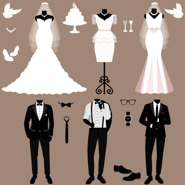 Wedding card with the clothes of the bride and groom. Wedding set. Wedding card with the clothes of the bride and groom. Wedding set. A set of wedding clothes. Beautiful wedding dress and tuxedo. Vector illustration. wedding dress stock illustrations