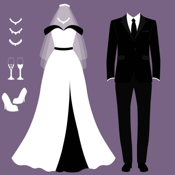 Wedding card with the clothes of the bride and groom. Wedding set. Wedding card with the clothes of the bride and groom. Wedding set. Beautiful wedding dress and tuxedo. Vector illustration. wedding dress stock illustrations