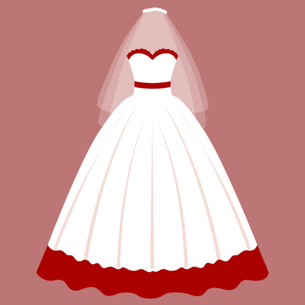 Beautiful Red And White Wedding Dress: Best Red Wedding Dresses Cartoon Illustrations, Royalty
